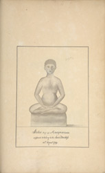 Jain figure from Kanchipuram. Made into an engraving and published in  AR (9) 1809, opposite p.272.